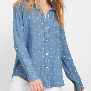 Rails Ingrid Dark Blue Polka Dot Button Shirt Top